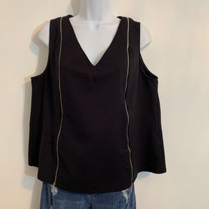 Black Tank Top with zipper accents. Size 14 / 16